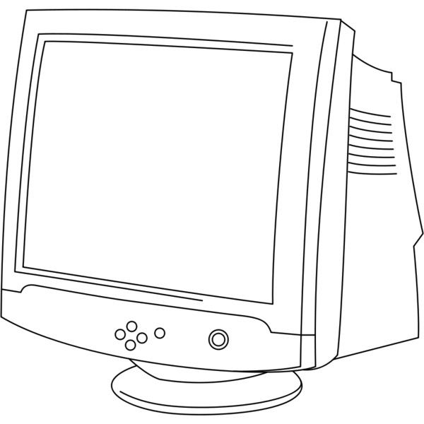 CRT Monitor in Line Art liked on Polyvore featuring
