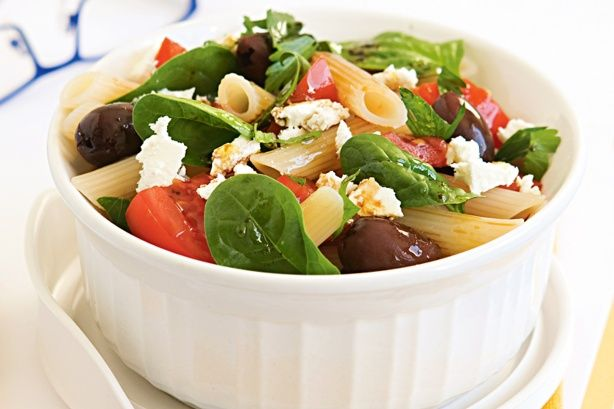 Tomato, Olive and Feta Pasta Salad - Work Lunch