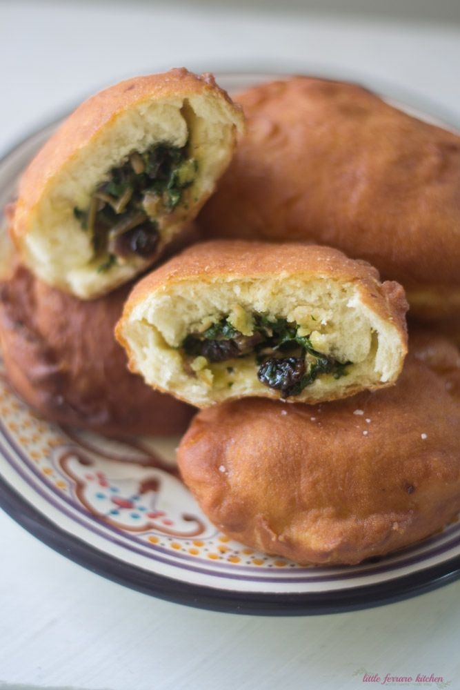 Savory Sufganiyot with Swiss Chard and Raisins via LittleFerraroKitchen.com