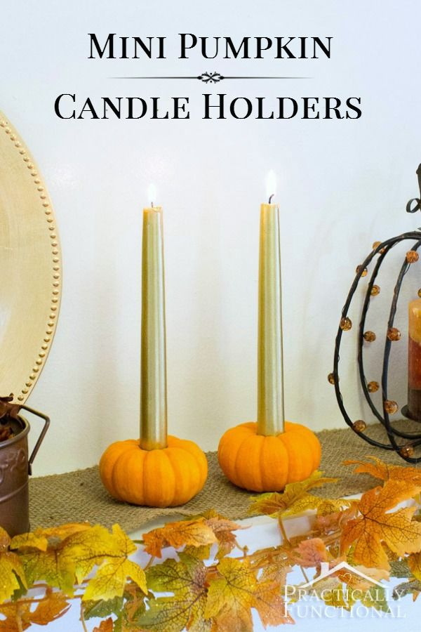 Turn a mini pumpkin into a candle holder in just five minutes! (Can be sized to fit tea lights, votives, or tapers)