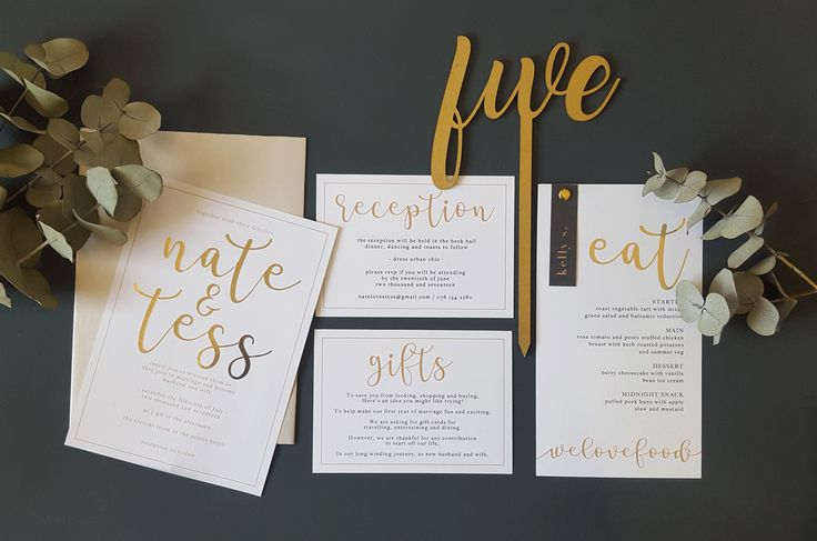Urban grey and gold wedding stationery suite, invitation, gold foiled