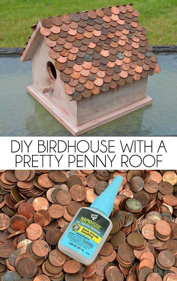 DIY birdhouse with a pretty penny roof.   http://www.dreamalittlebigger.com/post/diy-birdhouse-pretty-penny-roof.html#