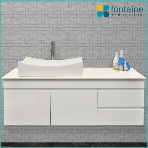 Rochester 1200 single ceramic basin bathroom vanity with stone top and full pull cupboards and drawers | Renovation Design Ideas Affordable | Fontaine Industries |
