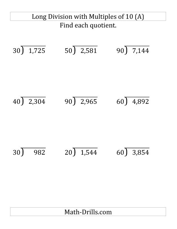 Long Division By Multiples Of 10 With Remainders Large Print Long Division Math Division Worksheets Math Drills