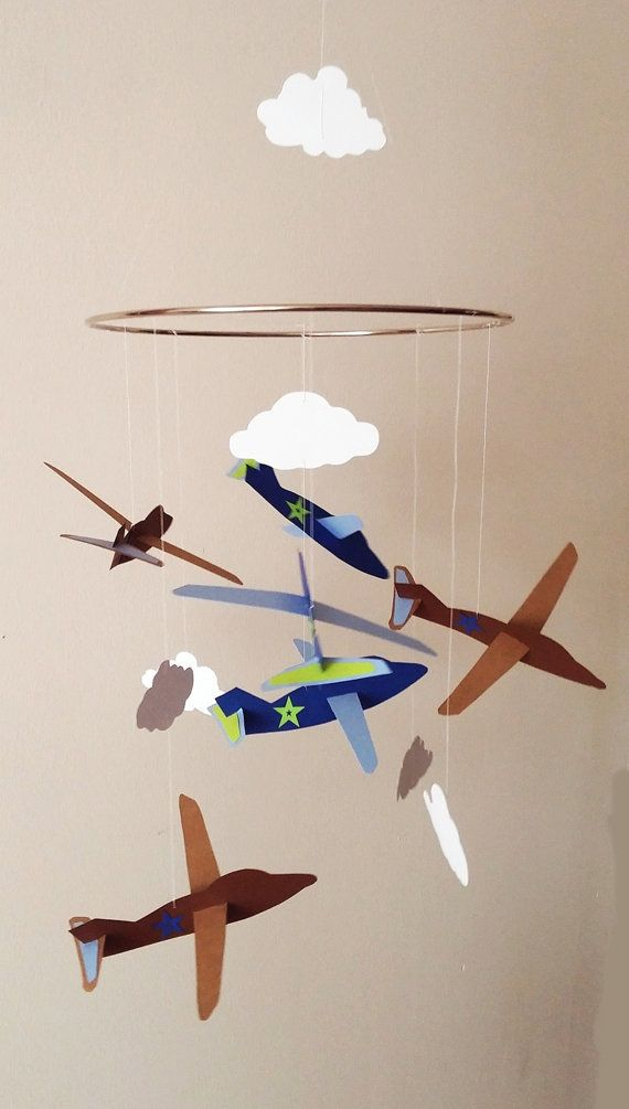 Adorable airplane mobile is made from heavy cardstock paper. This mobile can be created in any color scheme. Planes measure 6 wide and 6