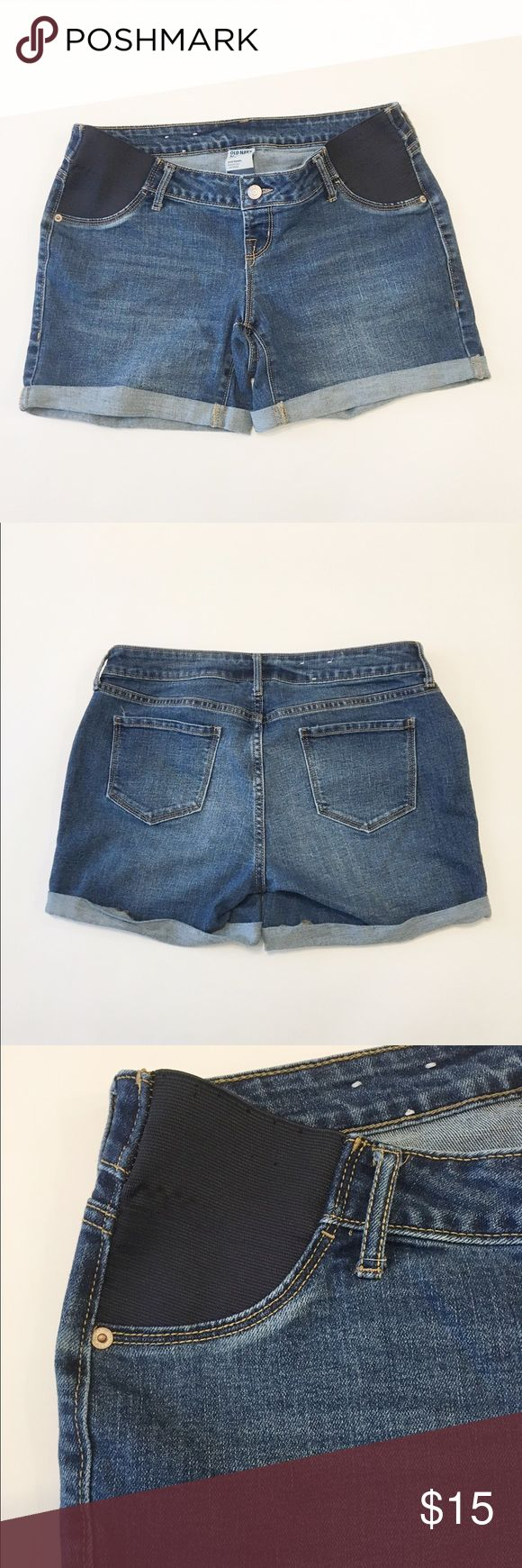 Maternity Shorts Preloved maternity shorts with minimal fraying on the side panel as shown in last 2 photos. Still great shorts can't see the fraying when being worn with a top. Super comfy and stretchy waist. Size on tag says size 4 regular/ standard. Old Navy Shorts Jean Shorts