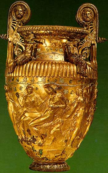 Derveni krater. Ca 350-320 BC. Archaeological Museum of Thessaloniki.
