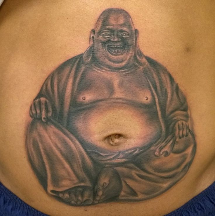 Buddha belly tattoo by Rob Levis