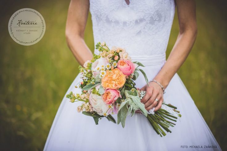 coral peach wedding bouquet, austin roses, paeonies, matthiola, matricaria