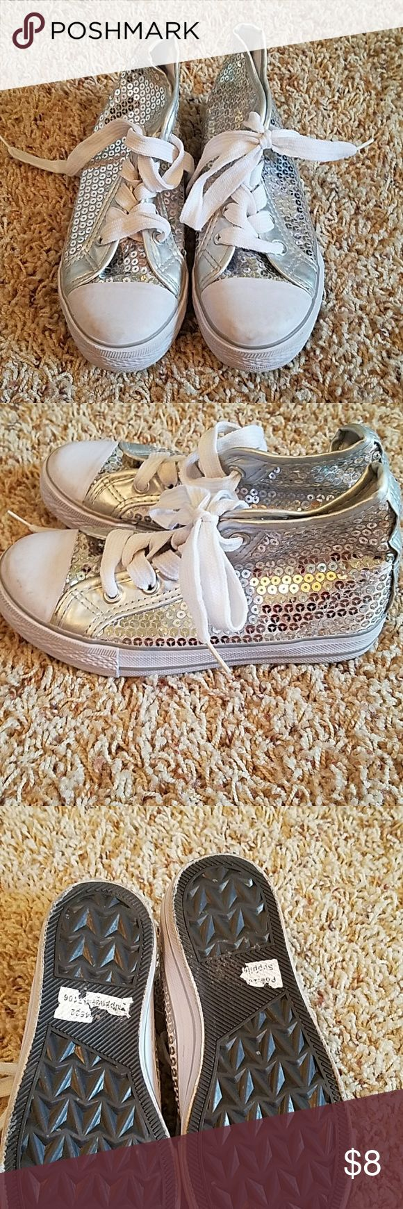 Sequined Glitter Tennis Shoes like converse Perfect condition. Worn once for a hip hop dance at recital. Balera brand. Sz 13 little girls Shoes Sneakers