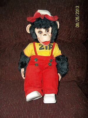 16 Quot Vintage Cloth Zip Zippy Monkey Chimp Doll Vinyl