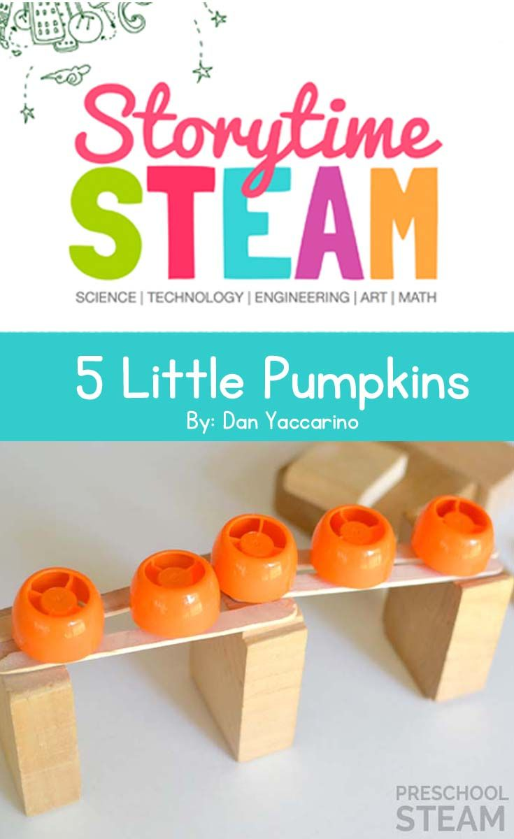 A Preschool STEM activity and challenge based on the book, Five Little Pumpkins.                                                                                                                                                                                 More