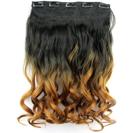 Neverland #Beauty New Fashion 20 Inches #Long #Curly One Piece Clip in #Hair #Extensions (5 Clips) Clip Ins #Hairpiece Black to Brown
