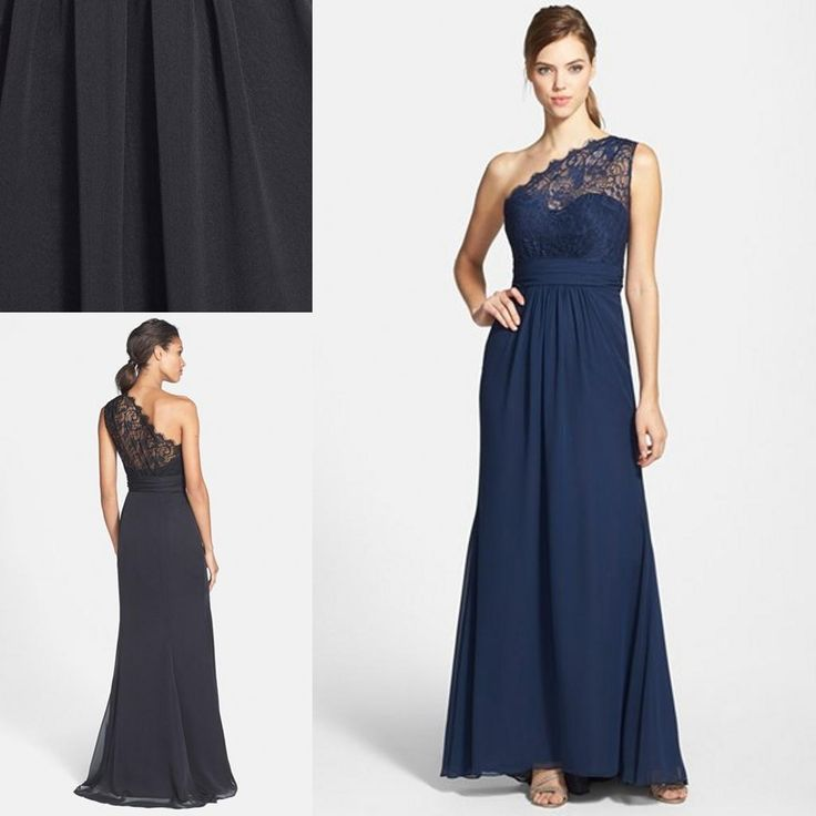 Royal Blue Bridesmaid Dress 2015 New Formal Bridesmaid Dresses One Shoulder Sleeveless Lace A Line Long Chiffon Summer Beach Navy Blue Black Maid Of Honor Prom Gowns Pale Green Bridesmaid Dresses From Ourfreedom, $82.11  Dhgate.Com