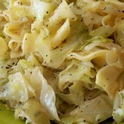 Hungarian Noodles & Cabbage - I used a whole small head cabbage, 1 small red…