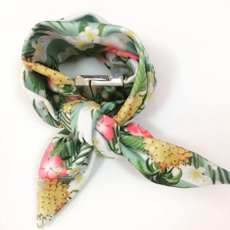 A personal favorite from my Etsy shop https://www.etsy.com/listing/522994974/pinneaple-pink-flowers-lycra-choker Pinneaple summer scarf