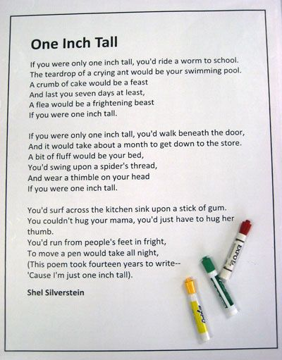 Read One Inch Tall By Shel Silverstein Then Have Students
