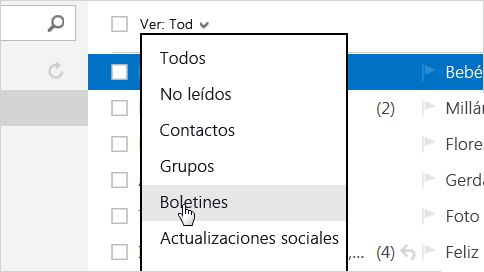 Vista de filtro de newsletters de Outlook.com