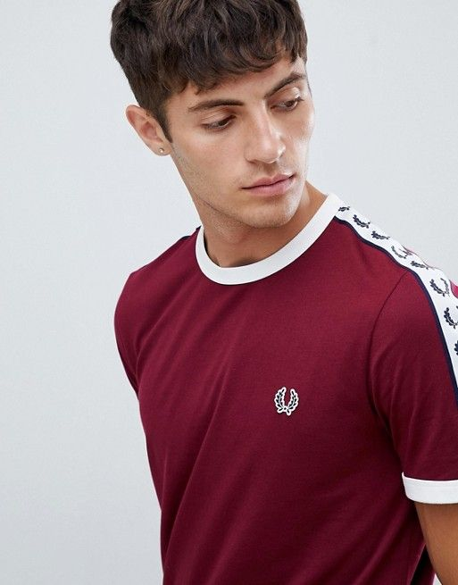 38c8279c8 Fred Perry Sports Authentic taped ringer t-shirt in burgundy ...