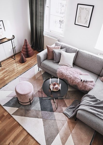 Time to relax! Relaxation is inevitable in this beautiful living room. A unique carpet, a trendy pouf, cuddly pillows, … – RESIDENTIAL CLOTH