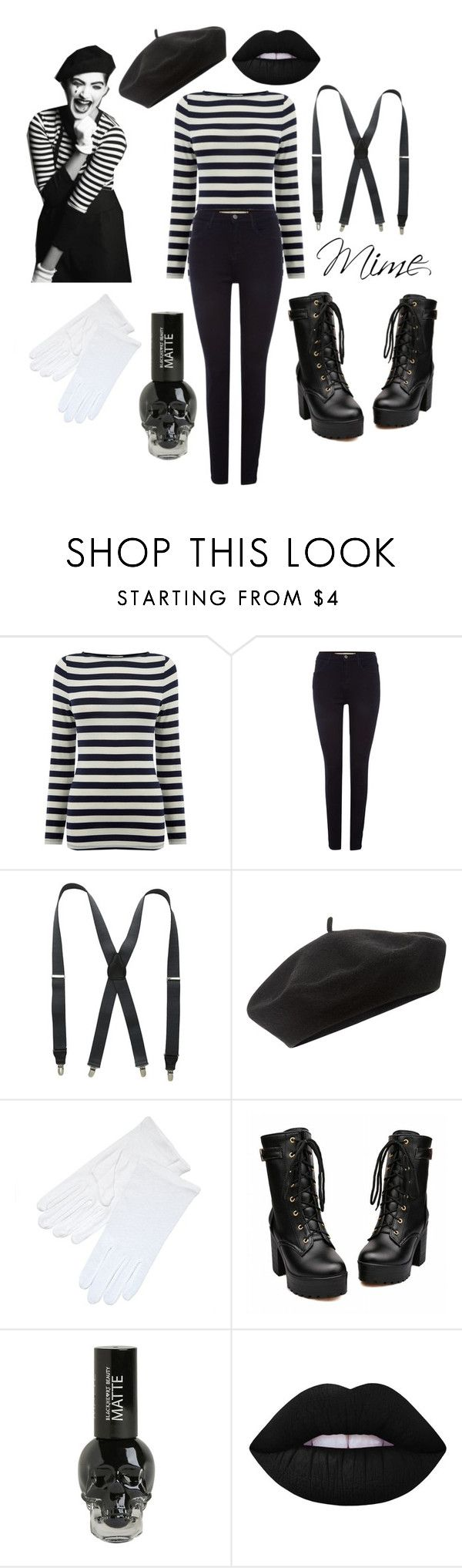 """Mime costume"" by fob1fan ❤ liked on Polyvore featuring Sonam Life, Wrangler, Stacy Adams, Accessorize and Lime Crime"