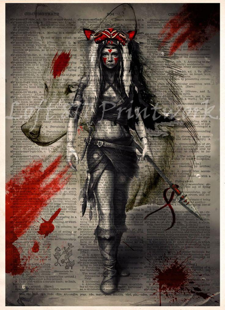 Princess Mononoke poster, Mononoke wolf girl art, Anime pop art, Mononoke splatter art print, Dictionary print art