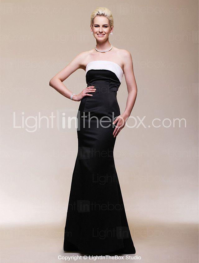 2017年 TScouture®フォーマルなイブニングドレス - とオープンバックのプラスサイズ/小柄なトランペット/マーメイドストラップレスの床長さのサテン コレクション – ¥8415