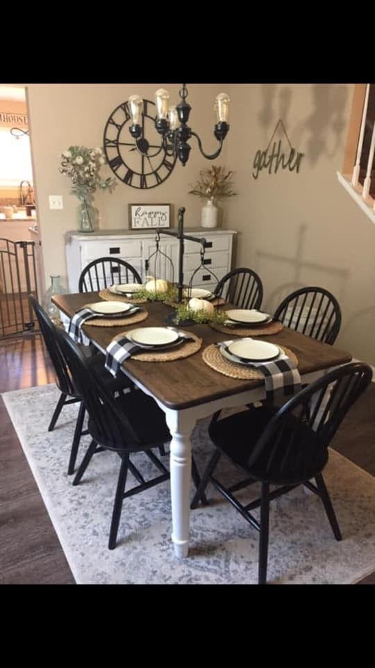 Farmhouse Table White Base Black Chairs And Dark Walnut Top Black Kitchen Chairs Farmhouse Dining Room Table Dining Table Black