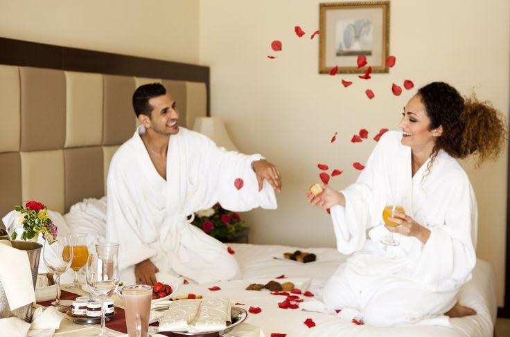 Newlyweds enjoying the honeymoon breakfast in the room #wedding #honeymoon #hotel #Valletta #Malta #Mediterranean