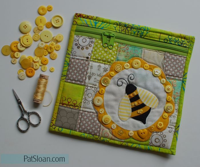Pat Sloan Bumble Bee Pouch Pattern - http://fatquartershop.blogspot.com/2016/07/button-lovers-club-bonus-simple-zipper.html