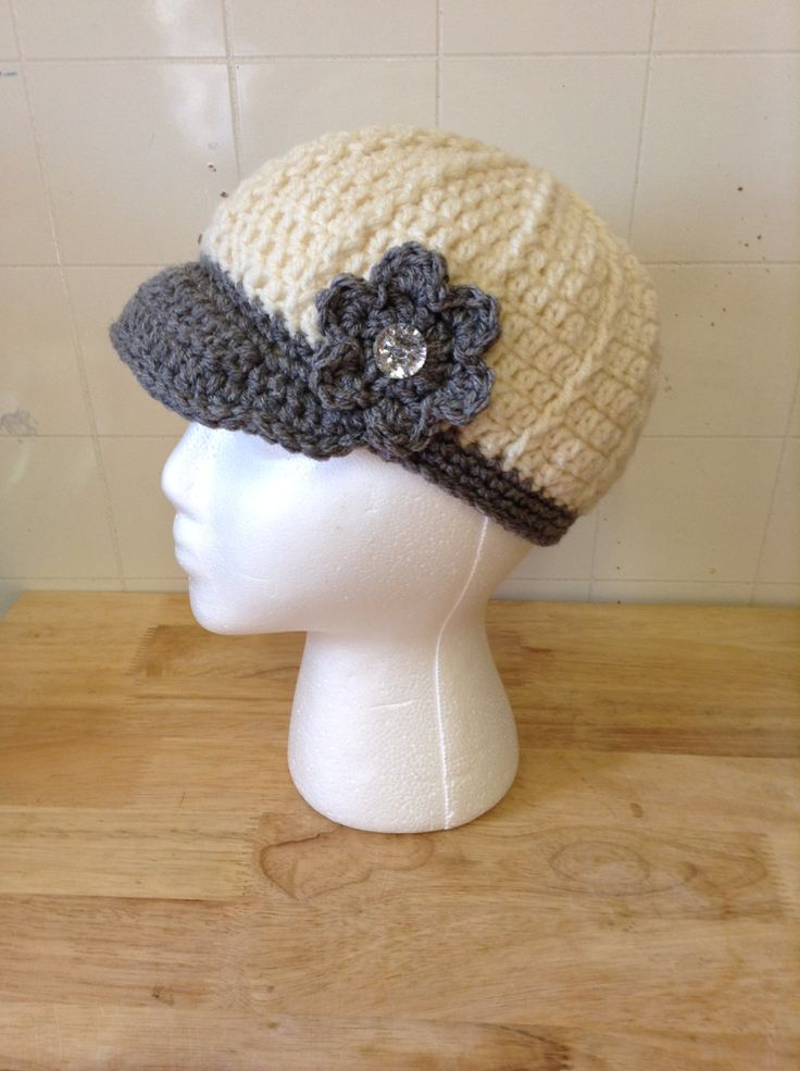 👸 Toque de cinza Crochê Jornaleiro Chapéu Crochê -  / 👸 Touch of Gray Crochet Newsboy Hat Crochet -