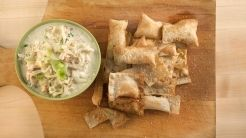 French Onion Dip with Homemade Parmesan Crackers: French Onions Dips, French Onion Dip, Food, Appetizers Dips Onions, Emeril, Dips Spreads Salsa, Crackers, Dips Yummy, Homemade