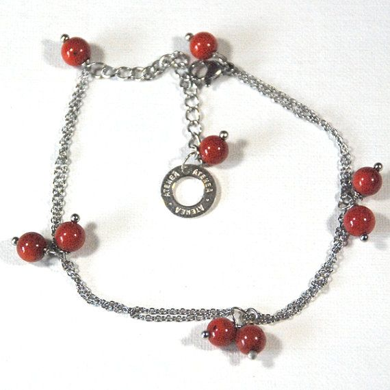 Natural red coral bracelet with linked stainless steel chain & clasp