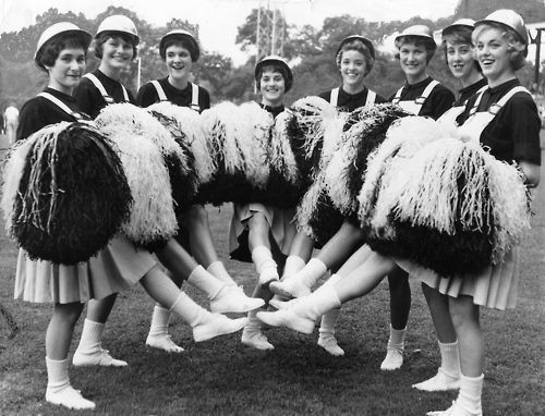 """PITTSBURGH STEELERS~Steelerettes — the Steelers' hard-hatted cheerleaders"""" They led the charge in 1961 when the NFL first started having professional cheerleaders .. The Steelerettes, with hardhats"""
