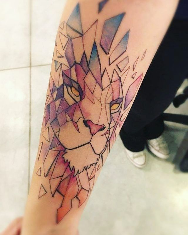 Geometric, watercolor lion - right side