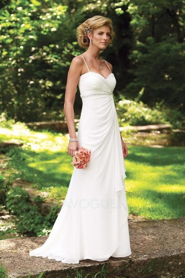 Robe De Mariée Sans Manches Plage Fourreau Mousseline Polyester Simple