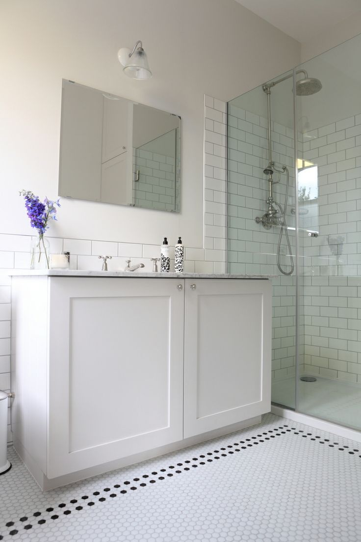 Hexagonal tiles. Lovely to keep Edwardian feel in bathroom.