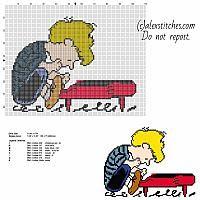 Cartoon Cross Stitch Patterns   Patty Peanuts cartoon character free cross stitch pattern made with ...