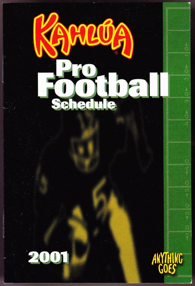 2001 KAHLUA NFL PRO FOOTBALL SCHEDULE BOOKLET FREE SHIPPING #NFL