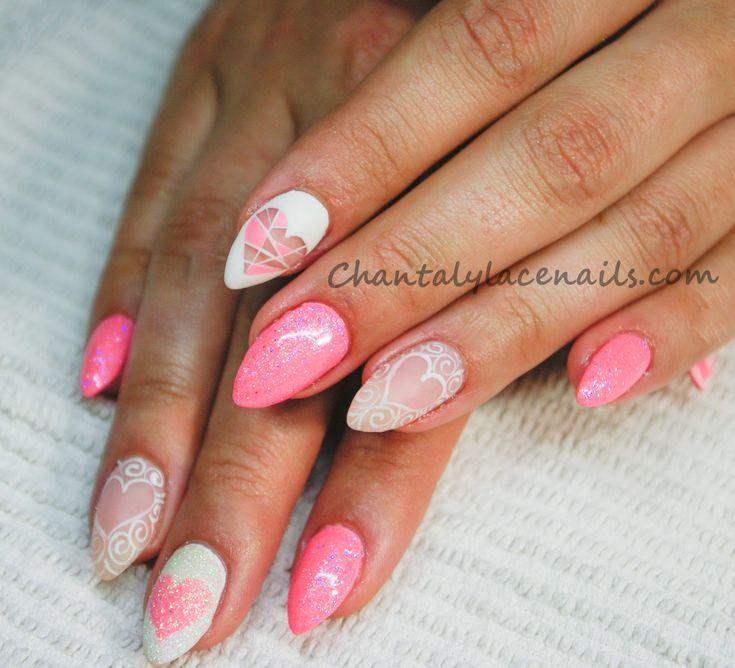 valentine day nails/valentine nails art/ pink nails