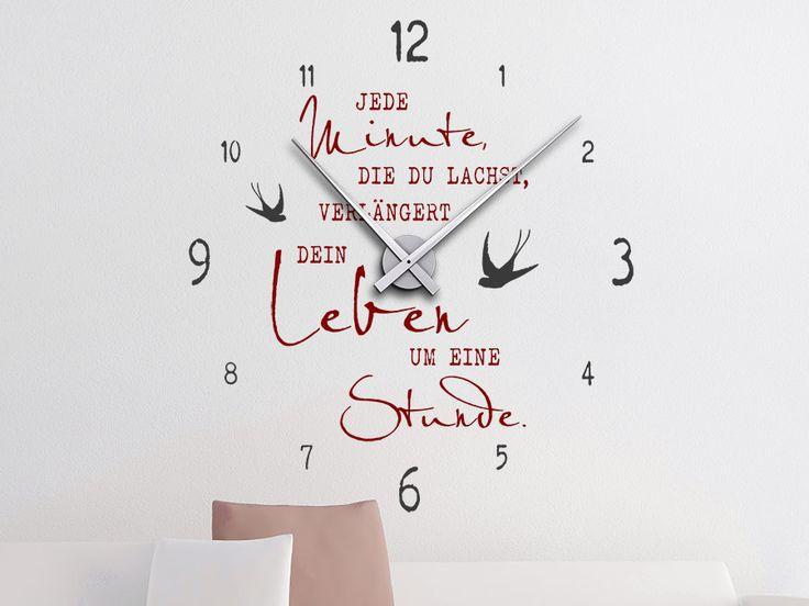 Wandtattoo Uhr Jede Minute, die du lachst, verlängert dein Leben um eine Stunden. Originelle Wandgestaltungsidee mit kreativen Farbkombinationsmöglichkeiten...