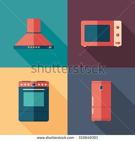 Kitchen home appliances flat square icons with long shadows. #homeinterior #homefurniture #flaticons #vectoricons #flatdesign