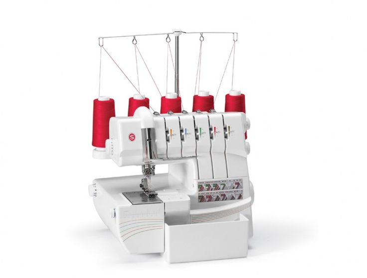 5 spool serger does chain stitch, cover stitch, 3/4 spool stitches, rolled hem and more. http://cart.jennys-sewing-studio.com/index.php?main_page=index&cPath=72_77_90