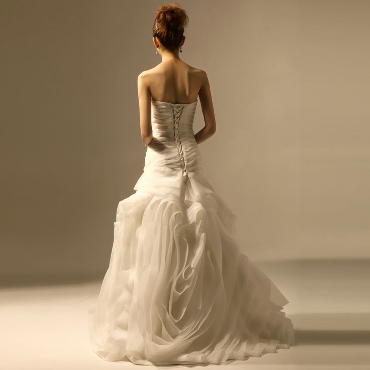 2012 Fall Strapless Organza bridal gown with Dropped waist  Trumpet/Mermaid,Floor Length,Dropped,Chapel Train,Strapless,Sleeveless,Ruffles,Sashes/Ribbon,Lace-Up,Satin Organza,Church,Garden/Outdoor,Hall,Fall,Winter,