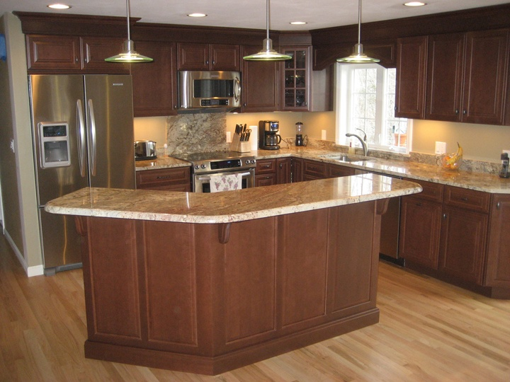 An angled island like this could work. | Kitchen | Pinterest