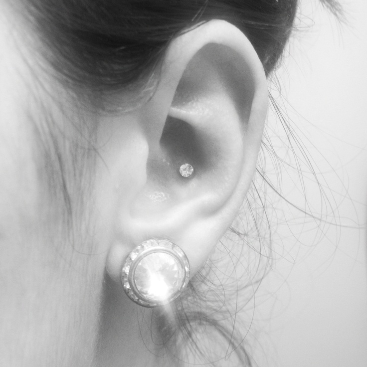 Conch ear piercing! I kind of want a stud like this for mine