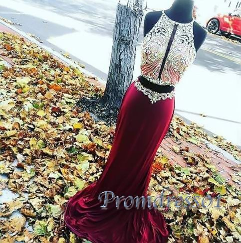 Cute burgundy chiffon two pieces prom dress with sparkly top, ball gown, prom…