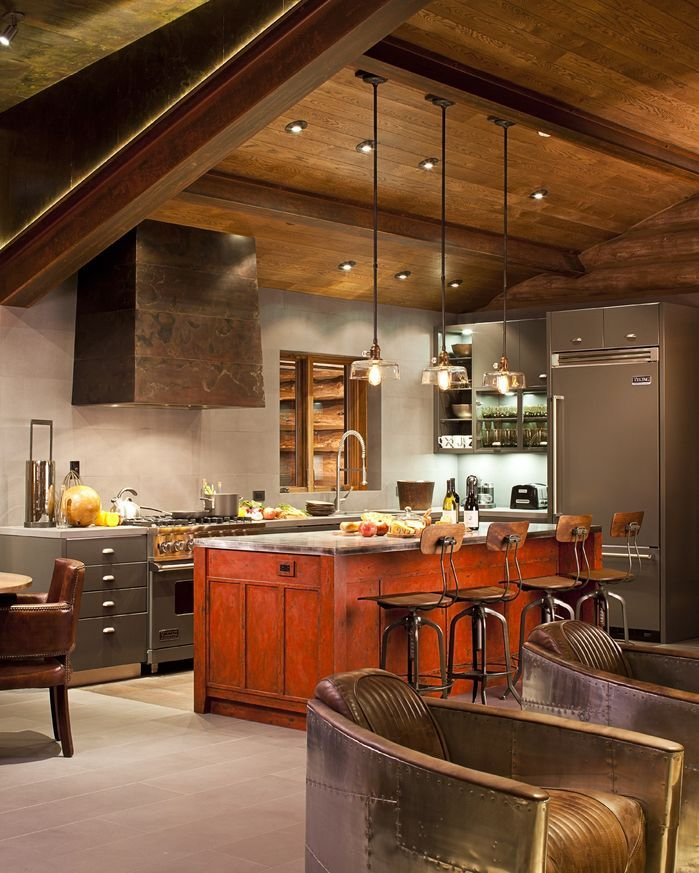 Metals And Woods Strike The Perfect Balance In This Rustic/industrial  Kitchen By Designer Studio