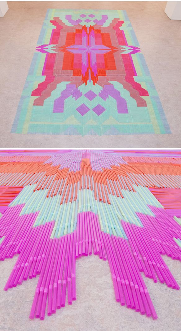 Carpet Installation made from Straws.  a collective {Bob, Marcia and Stijn to be exact} based in Amsterdam