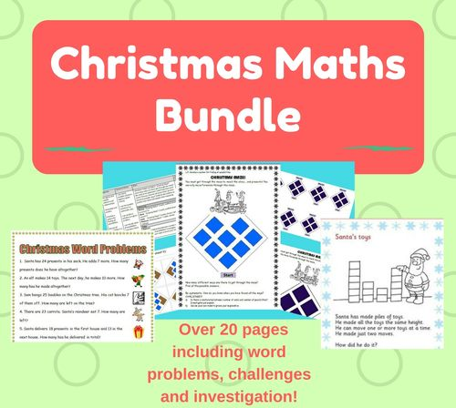 Christmas Maths bundle KS1 KS2 word problems investigations - over 20 pages of math fun